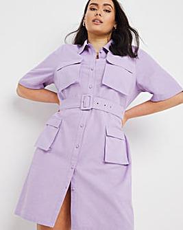 Linen Utility Shirt Dress