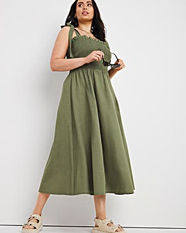Khaki Shirred Linen Midi Dress