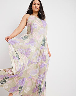 Tropical Print Crinkle Tiered Maxi Dress