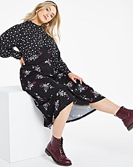 Mixed Floral High Neck Jersey Midi Dress