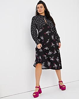 Mixed Floral High Neck Jersey Midi Dress
