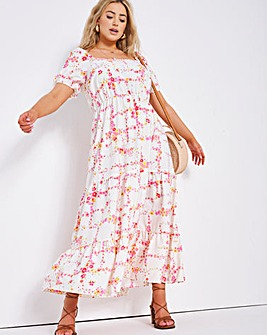 Floral Print Cross Back Tiered Maxi Dress