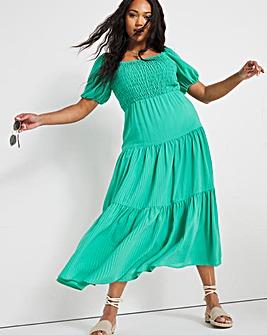 Green Gingham Shirred Square Neck Midi Dress