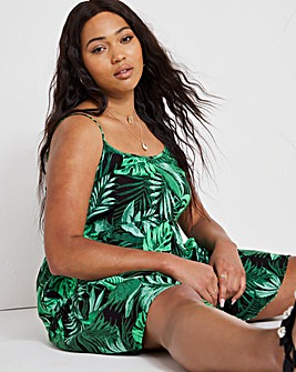 Palm Print Tiered Cami Smock Dress