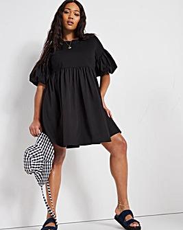 Black Cotton Poplin Jersey Mix Smock Dress