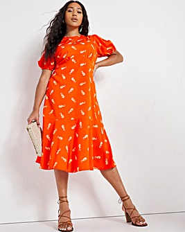 Seahorse Print Back Detail Midi Dress