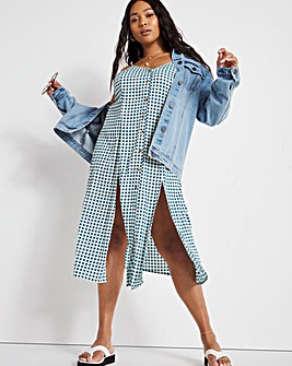 Gingham Button Through Midi Dress