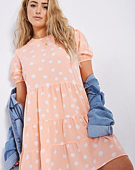 Coral Spot Tiered Smock Dress