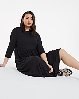 Black Waffle Tiered Midi Dress