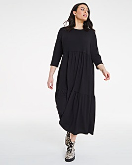 Black Textured Jersey Tiered Midi Dress