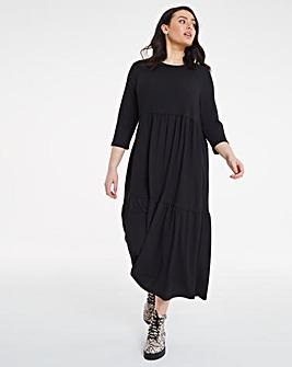 Black Textured Jersey Tiered Midi Dress