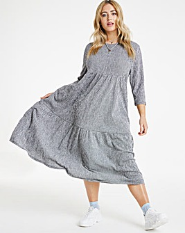 Gingham Textured Jersey Midi Dress