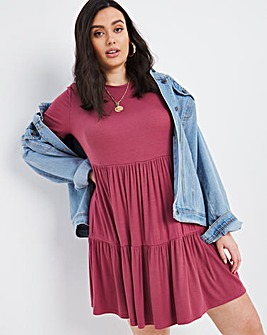 Raspberry Tiered Ribbed Dress