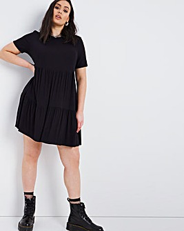 Black Tiered Ribbed Dress