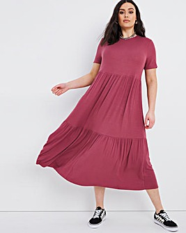 Raspberry Supersoft Ribbed Tiered Midi Dress