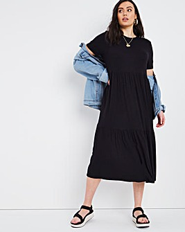 Black Supersoft Ribbed Tiered Midi Dress
