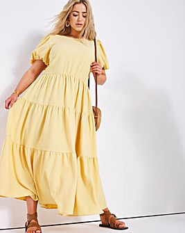Yellow Textured Bow Back Tiered Maxi Dress