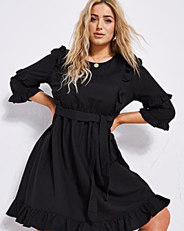 Black Linen Skater Dress with Tie Waist