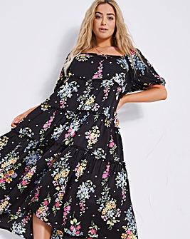 Black Floral Short Sleeve Satin Tiered Midi Dress
