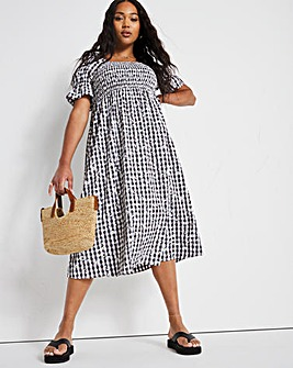 Gingham Daisy Shirred Dress