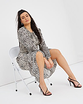 Animal Long Sleeve Shirred Midi Dress