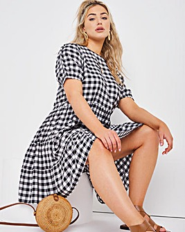 Mono Check Tiered Smock Dress