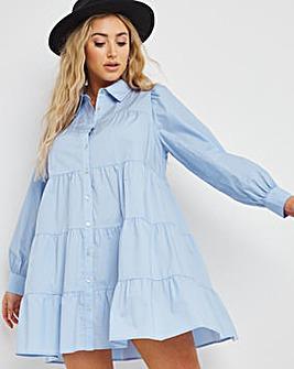 Blue Cotton Tiered Long Sleeve Shirt Smock Dress