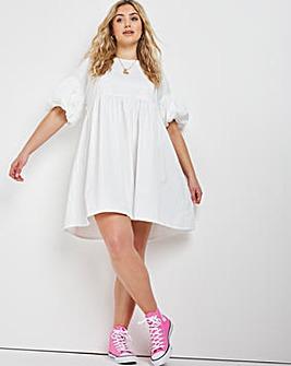 White Cotton Poplin Jersey Mix Smock Dress