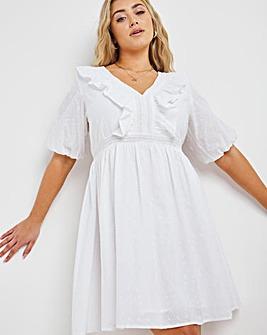 White Broderie Frill Skater Dress