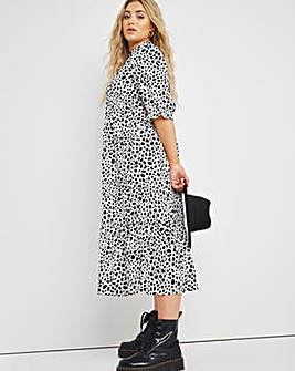 Mono Spot Midi Dress with Frill Neck