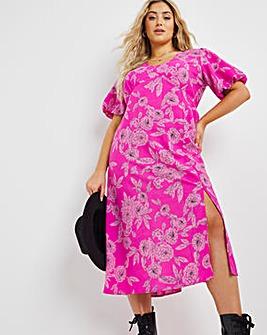 Pink Floral Angel Sleeve Midi Dress