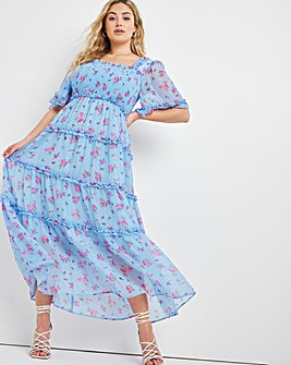 Blue Floral Chiffon Square Neck Tiered Shirred Maxi Dress