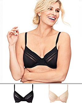 Magisculpt 2 Pack No VPL Black/Blush Full Cup Bras