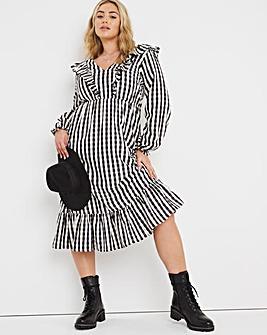 Gingham Ruffle Front Midi Dress