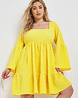 Yellow Check Square Neck Smock Dress