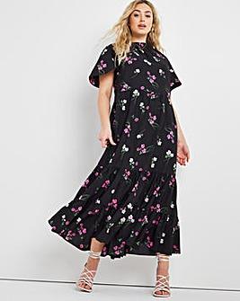 Black Floral Tiered Angel Sleeve Midi Dress