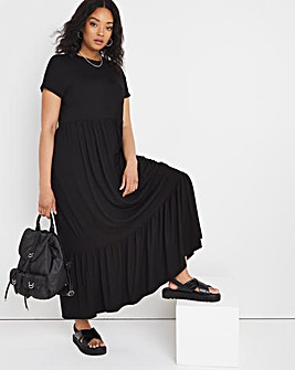 Black Short Sleeve Tiered Smock Maxi T-Shirt Dress