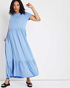 Blue Short Sleeve Tiered Smock Maxi T-Shirt Dress
