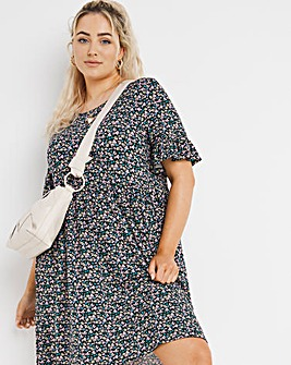 Ditsy Floral Frill Sleeve Smock Dress