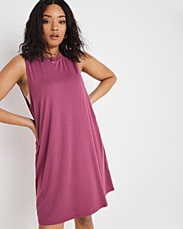 Dusty Rose Vest T-Shirt Dress