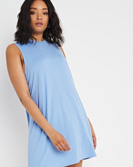 Blue Vest T-Shirt Dress