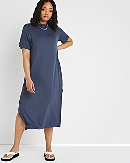Charcoal Oversized Short Sleeve Midi T-Shirt Dress