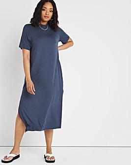 Charcoal Oversized Midi T-Shirt Dress
