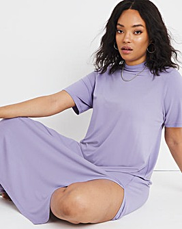 Lilac Oversized Short Sleeve Midi T-Shirt Dress