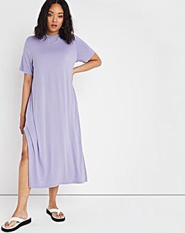 Lilac Oversized Short Sleeve Midi T-Shirt Dress