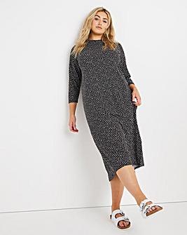 Spot Print Oversized Midi T-Shirt Dress
