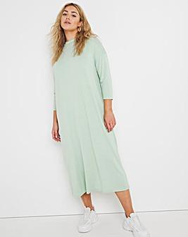 Sage Oversized Long Sleeve Midi T-Shirt Dress