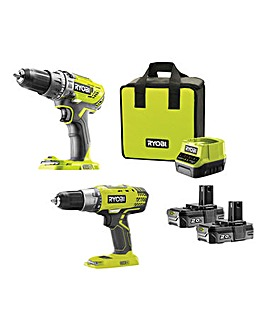 RYOBI Cordless Drill Quick Charge 2 Pack