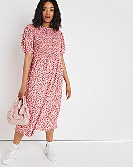 Pink Ditsy Shirred Waffle Midi Dress