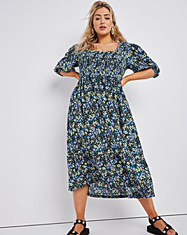 Blue Floral Square Neck Shirred Waffle Tiered Midi Dress